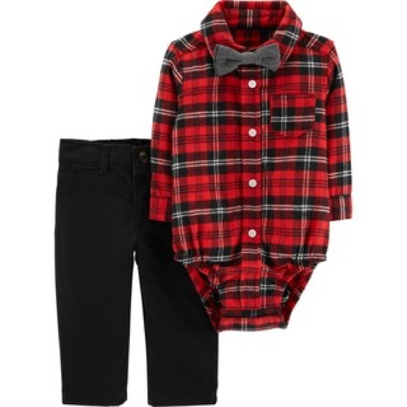 f1310c795 Carter's Matching Sets | Carters Red Plaid Bodysuit Bow Tie Pants ...